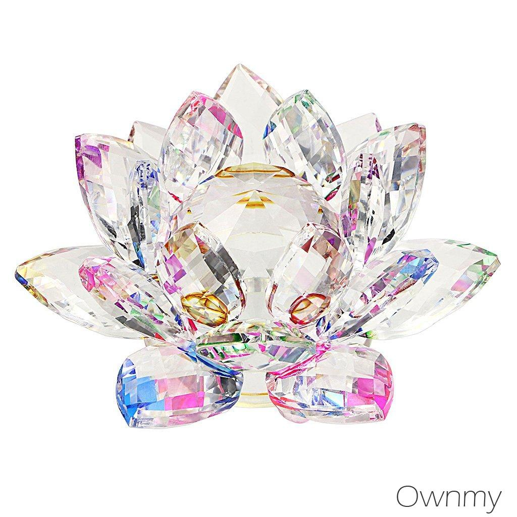 Ownmy Crystal Sparkle Crystal Lotus Flower Feng Shui Home Decor With