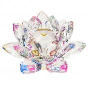 OwnMy Crystal Sparkle Crystal Lotus Flower Feng Shui Home Decor with Gift Box (4 Inch)