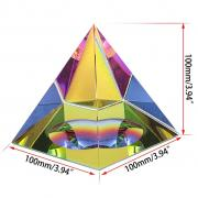 OwnMy Crystal Glass Iridescent Pyramid Paperweight Suncatchers with Gift Box (4 Inch Tall)